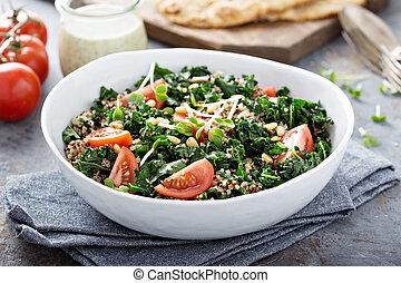quinoa, col rizada, ensalada, tomates