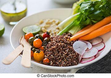 quinoa, com, aipo, e, hummus, salada