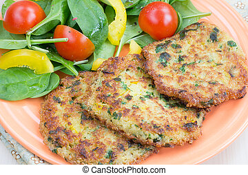 Quinoa fritters with salad - Quinoa fritters with vegetable ...