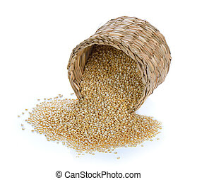 Quinoa in a basket on white background