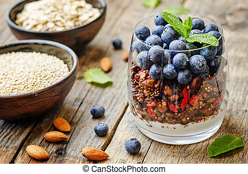 quinoa, mirtilli, noci, granola, farina avena