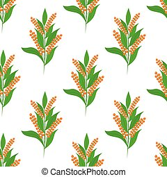 Quinoa seamless pattern. Vegetarian food. Cartoon flat style. Vector illustration