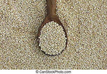 Quinoa seeds in a wooden spoon