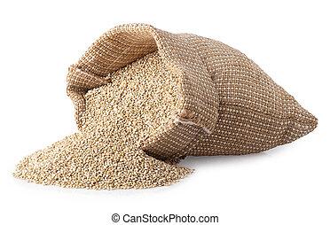 quinoa seeds in sack