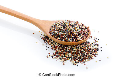 Quinoa seeds in wood scoop on white background