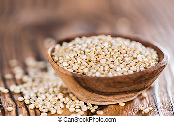 Quinoa - Small portion of uncooked Quinoa (close-up shot)