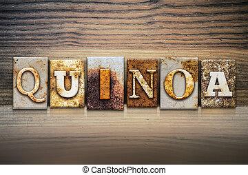quinoa, tema, concetto, letterpress