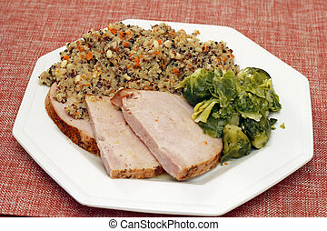 Quinoa, Turkey and Brussels Sprouts Dinner