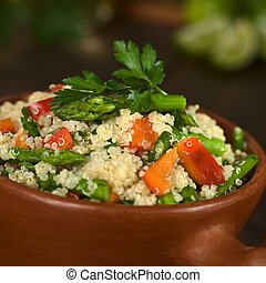 Quinoa with Asparagus and Bell Pepper - Vegetarian quinoa...