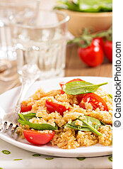 Quinoa with spinach and cherry tomatoes