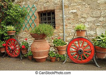 quintal, flores, itália, tuscany, europa, muitos, plantadores, fantasia, país