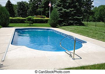 quintal, piscina em-moído, natação