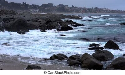 Quintay, Chile Rocky Coast Battered By Waves - Medium View.
