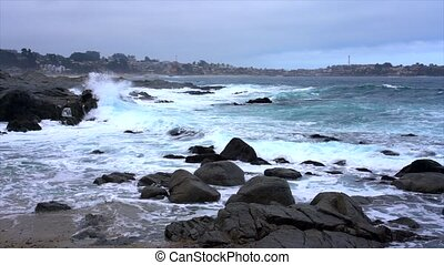 Quintay, Chile Rocky Coast Battered By Waves - Slow Motion.