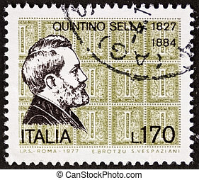 Quintino Sella postage stamp - ITALY - CIRCA 1977: a stamp...