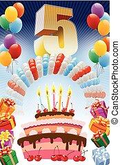 quinto cumpleaños, cartel
