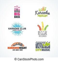 quinto, jogo, de, dj, música, reggae, baixo, karaoke, equalizador, logotipo, vetorial