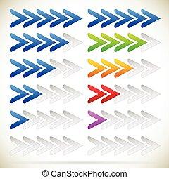quinto, progresso, zero, frecce, indicatore, sequence., step...