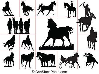 quinze, vecteur, cheval, silhouettes.