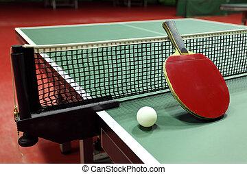 quipment, para, tenis de mesa, -, raqueta, pelota, tabla