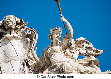 quirinal, derékszögben, szobor