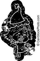 cartoon distressed icon of a girl pulling face wearing santa hat