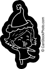 cartoon icon of a girl pulling face wearing santa hat