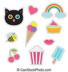 Quirky cartoon sticker patch badges set. Fashion pin collection. Cat, heart, rainbow, cloud, cupcake, bee, ice cream, popcorn, lips, cherry Dash line contour. Isolated. Baby background. Flat design.
