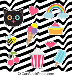 Quirky cartoon sticker patch badges set. Fashion pin collection. Cat, heart, rainbow, cloud, cupcake, bee, ice cream, popcorn, lips, cherry White black wave abstract line optical background. Flat