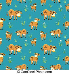 Quirky cows seamless pattern