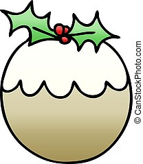 quirky gradient shaded cartoon christmas pudding - gradient...