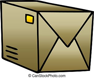 quirky gradient shaded cartoon parcel