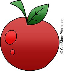 quirky gradient shaded cartoon red apple
