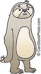 quirky gradient shaded cartoon sloth - gradient shaded...
