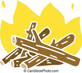 quirky hand drawn cartoon campfire