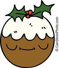 quirky hand drawn cartoon christmas pudding - hand drawn...