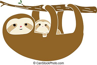 quirky hand drawn cartoon sloth and baby - hand drawn quirky...