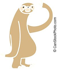 quirky hand drawn cartoon sloth - hand drawn quirky cartoon...