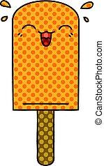 quirky, komisch boek, stijl, spotprent, sinaasappel, ijslollie