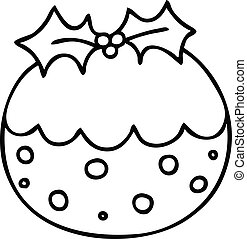 quirky line drawing cartoon christmas pudding - line drawing...