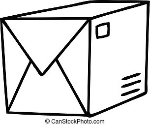 quirky line drawing cartoon parcel