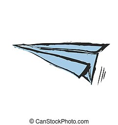 quirky paper airplane, vector icon