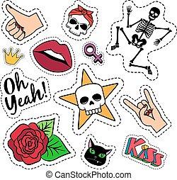 quirky, patches, kleurrijke, gekke