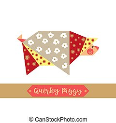 Quirky piggy origami pig icon