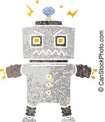 quirky retro illustration style cartoon robot
