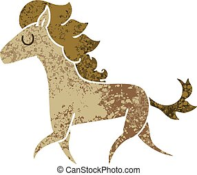 quirky retro illustration style cartoon running horse