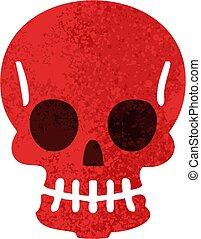 quirky retro illustration style cartoon skull