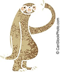 quirky retro illustration style cartoon sloth - retro...