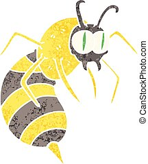 quirky retro illustration style cartoon wasp