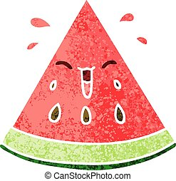 quirky retro illustration style cartoon watermelon